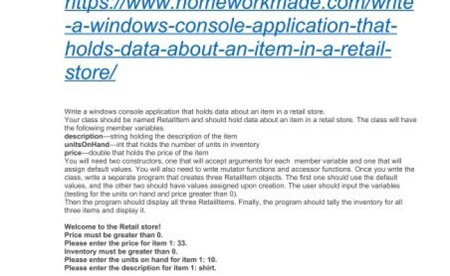 Write A Windows Console Application That Holds Data About