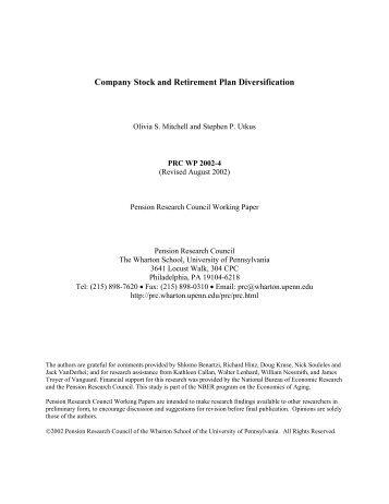 company stock and retirement plan diversification vanguard quality 80