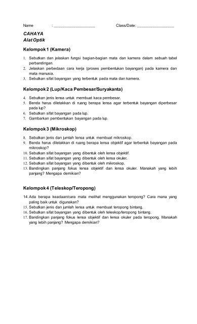 Jelaskan Dan Sebutkan : jelaskan, sebutkan, Optical, Instrument, Driven, Questions, Worksheet, (Specimen