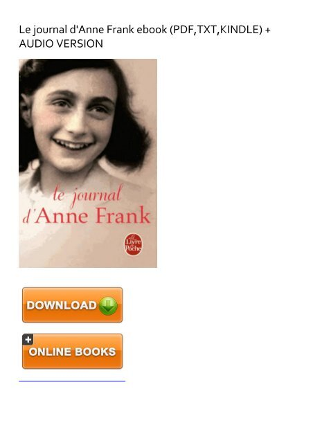 Le Journal D'anne Frank Pdf : journal, d'anne, frank, EXTRA), Journal, D'Anne, Frank, EBook, Download