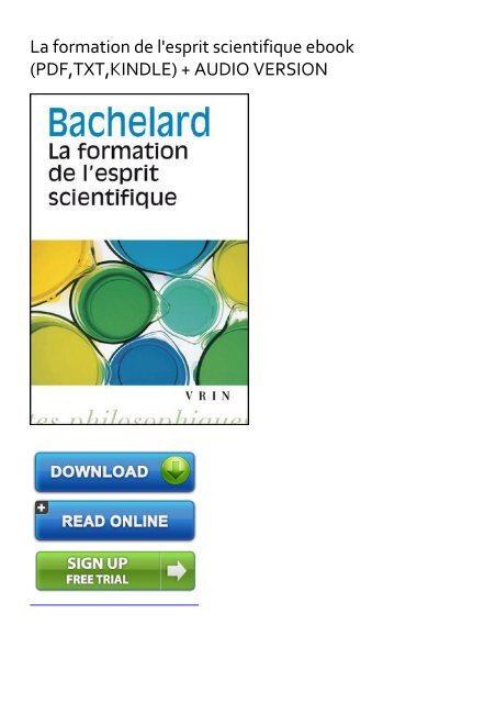 Bachelard La Formation De L'esprit Scientifique Pdf : bachelard, formation, l'esprit, scientifique, EXHILARATED), Formation, L'esprit, Scientifique, EBook, Download
