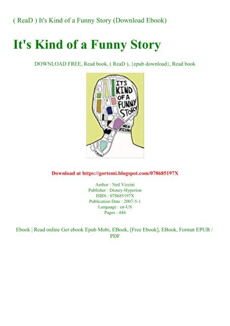 It's Kind Of A Funny Story Book Pdf Download : funny, story, download, Funny, Story, (Download, Ebook)