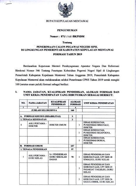 Formasi Cpns Kemenristekdikti 2019 : formasi, kemenristekdikti, Pengumuman, Penerimaan, Formasi, Tahun, Kabupaten, Kepulauan, Mentawai