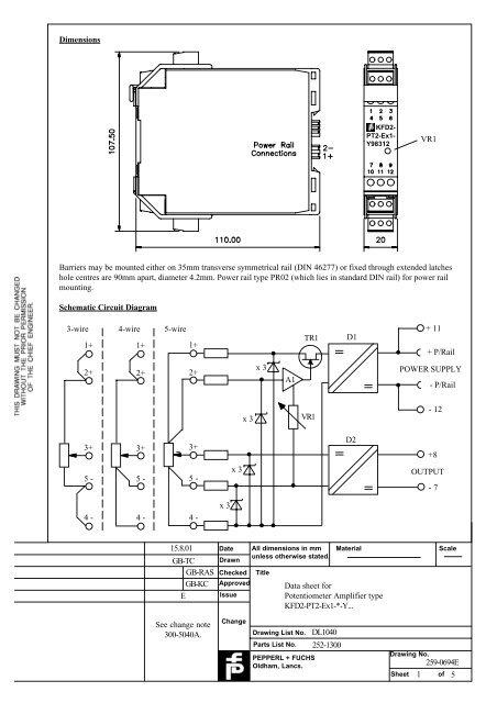 1 5 Data sheet for Potentiometer Amplifier type KFD2-PT2