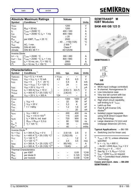SEMITRANS® M IGBT Modules SKM 400 GB 123 D Characteristics