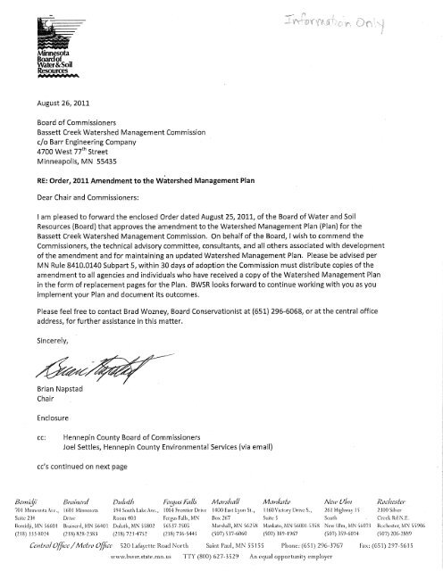 Minnesota Board of Water and Soil Resources Letter  Bassett Creek