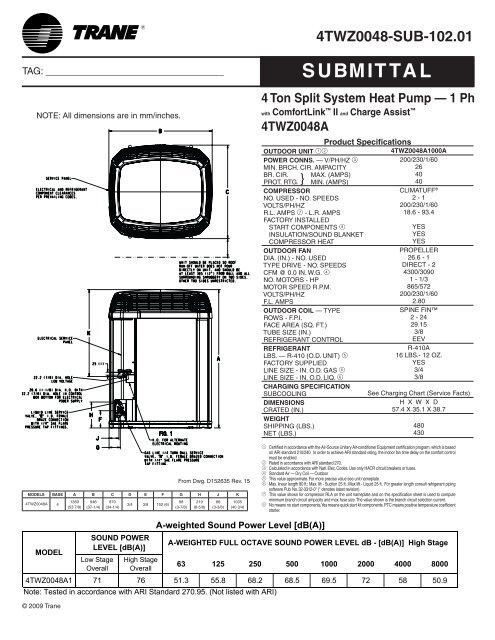Trane Submittal 4 Ton Split System Heat Pump 1 Ph with