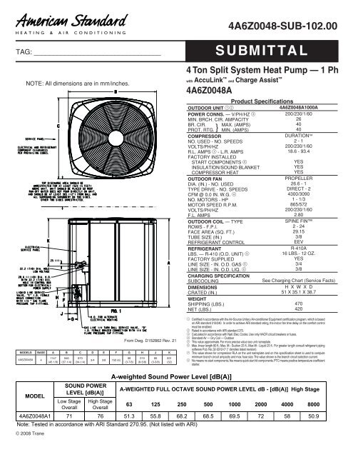 American Standard Submittal 4 Ton Split System Heat Pump 1