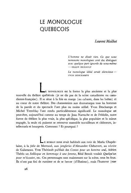 Qu Est Ce Qu Un Monologue : monologue, MONOLOGUE, QUEBECOIS