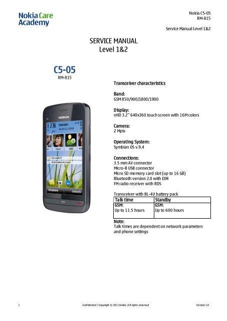 Nokia C5-05 RM-815 Service Manual Level 1&2