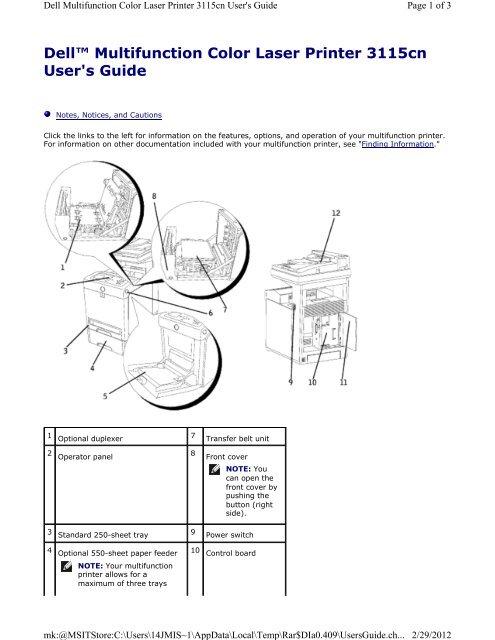 Dell 3115cn Printer (User Guide)