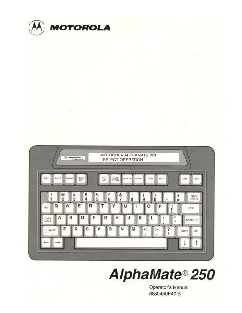 Motorola AlphaMate 250 Manual