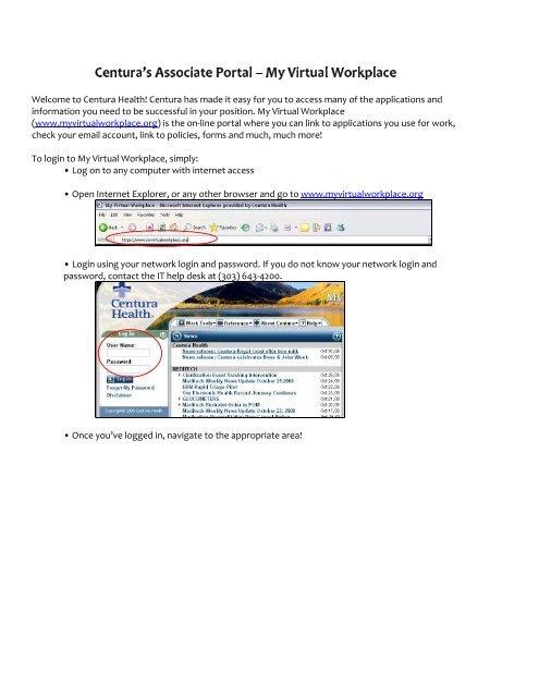 Myvirtualworkplace Centura : myvirtualworkplace, centura, Login, Using, Network, Password., Centura, Health
