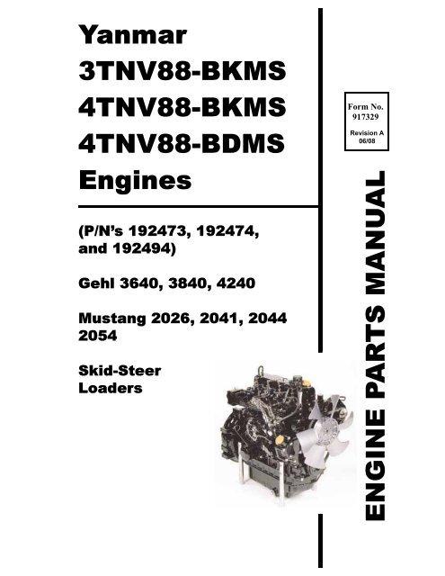 Yanmar 3TNV88-BKMS 4TNV88-BKMS 4TNV88-BDMS Engines