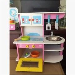 Wood Kitchen Playsets Farm Sink 厨房木制玩具 厨房木制玩具价格 新款 图片 做生意 用有赞 儿童玩具 木制仿真灶台动手组装玩具儿童过家家厨房男孩女孩粉色