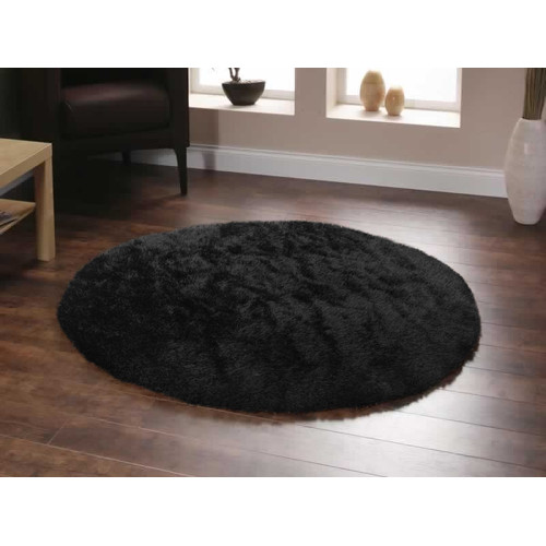 Deluxe Shag Black Round Rug  Temple  Webster