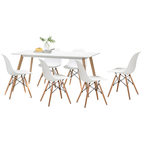 White Scandi Dining Table Set with 6 White Replica Eames
