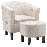 Occasional Tub chair with Ottoman in Cream