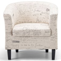 Occasional Tub chair with Ottoman in Cream | Temple & Webster