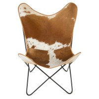 Cow Hide Wing Chair | Temple & Webster