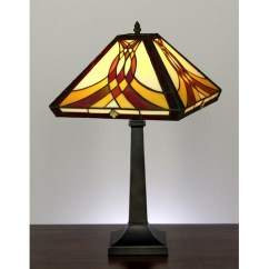 Tiffany Kitchen Lighting Hood Vent Swooping Pattern Mission Style Stained Glass Table Lamp ...