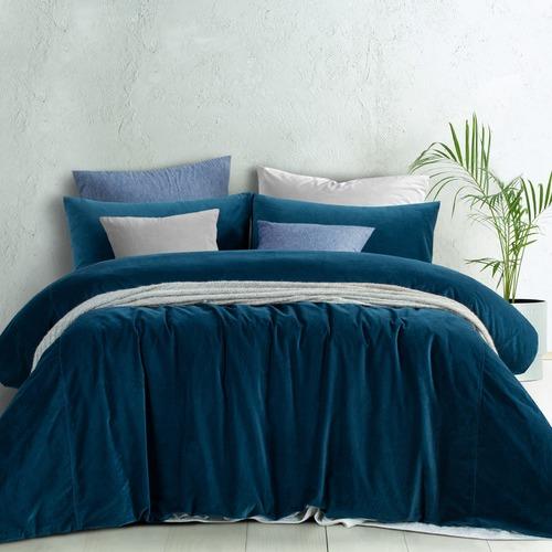 Riverland Blue Cotton Velvet Quilt Cover Set  Temple