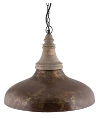NEW Rustic Brown Iron & Wood Pendant Light | eBay