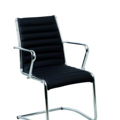 Office Chair Leaning To One Side Slip Cover Wing Back New Lean Visitor In Black Ebay