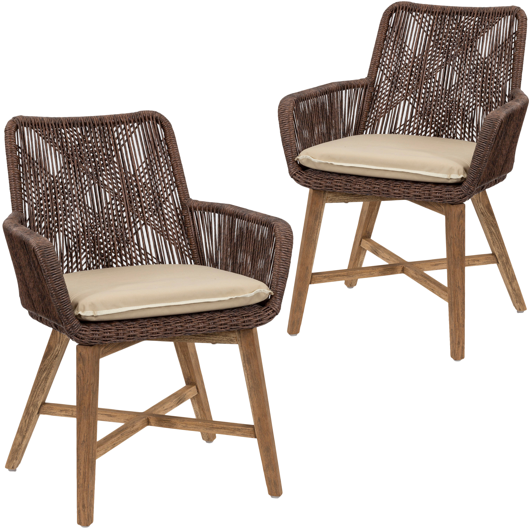Wicker Outdoor Dining Chairs Brown Armena Pe Wicker Outdoor Dining Chairs