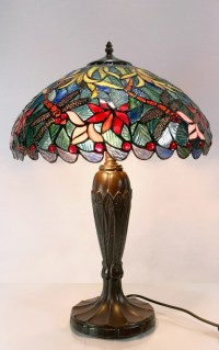 NEW Large Blue Traditional Dragonfly Tiffany Table Lamp ...