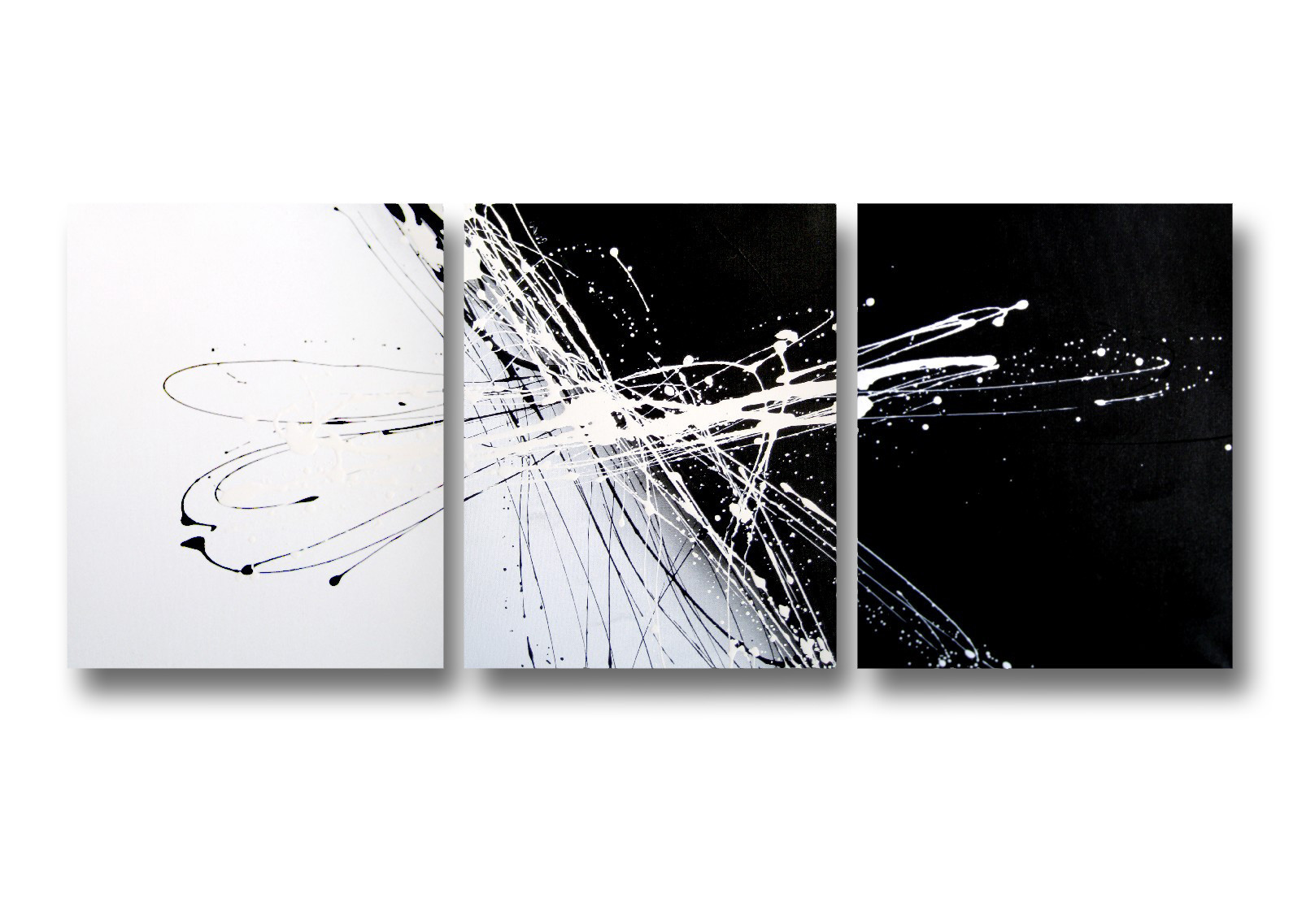 3 Piece Abstract Canvas Painting In Black And White Temple Webster