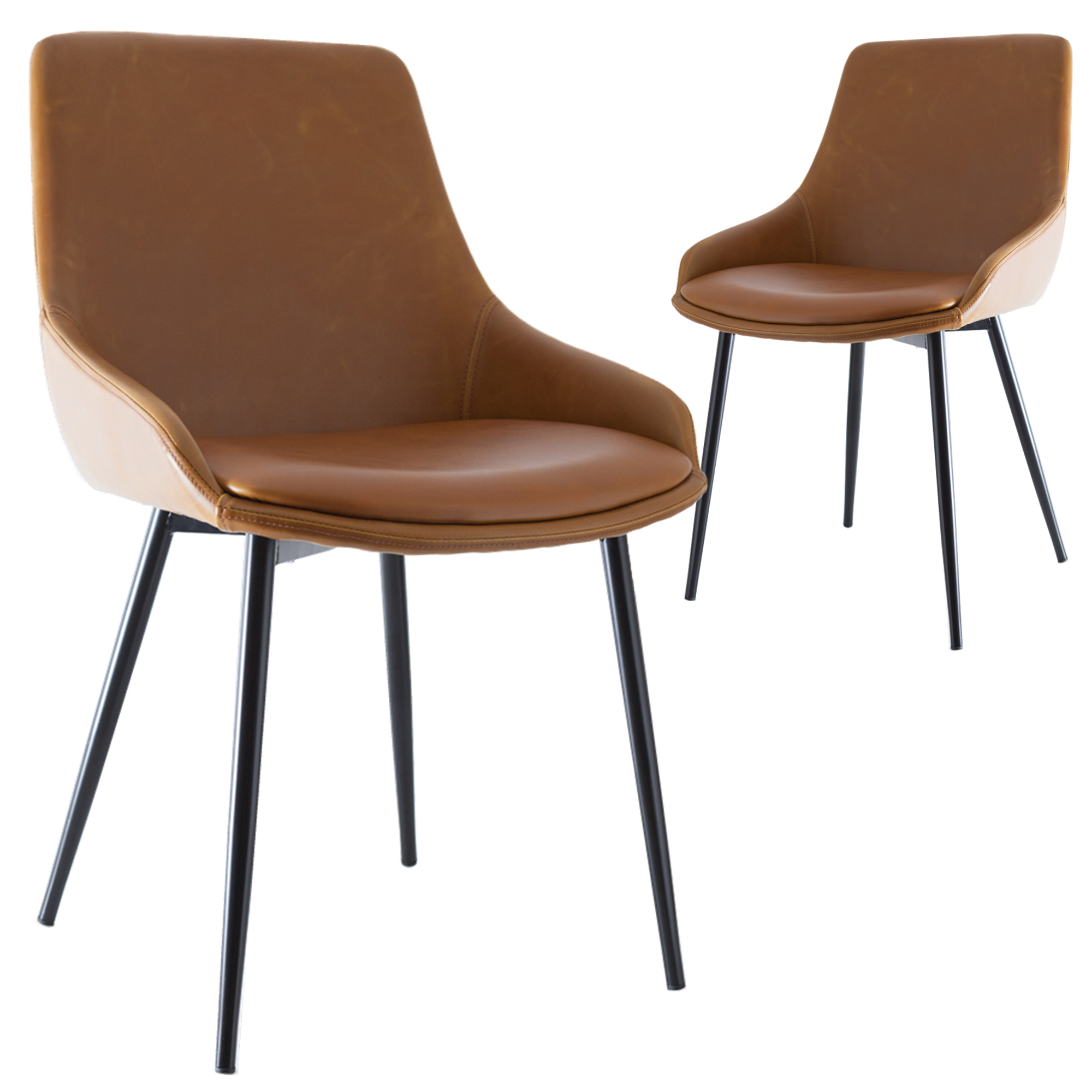 faux leather dining chair covers beach webbing new set of 2 tan lance chairs ebay