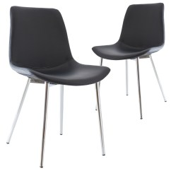 Faux Leather Dining Chair Covers The Is Against Wall Shirt New Set Of 2 Black Kira Chairs Ebay