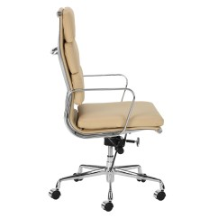 Eames Management Chair Replica Fold Up With Footrest New Premium Leather High Back Soft Pad