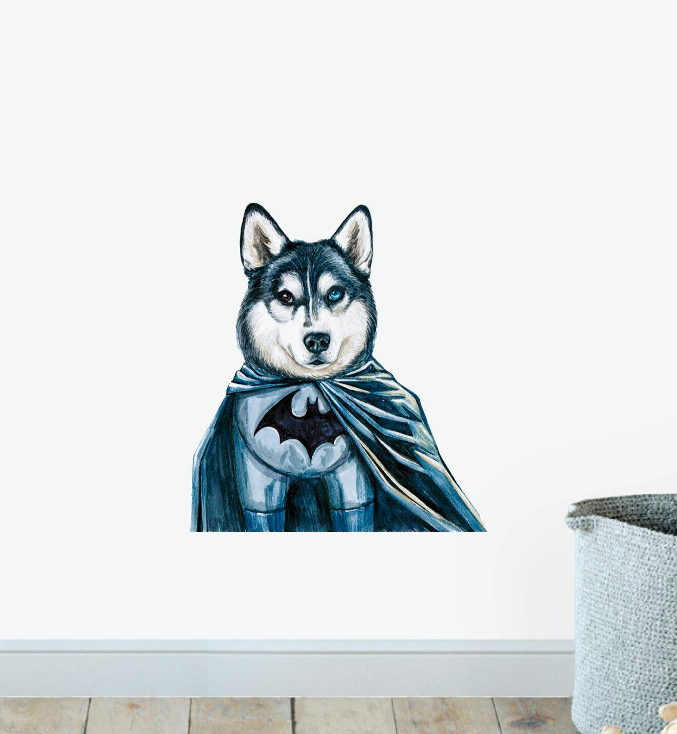 Batman Husky Superhero Dog Wall Sticker Temple Webster