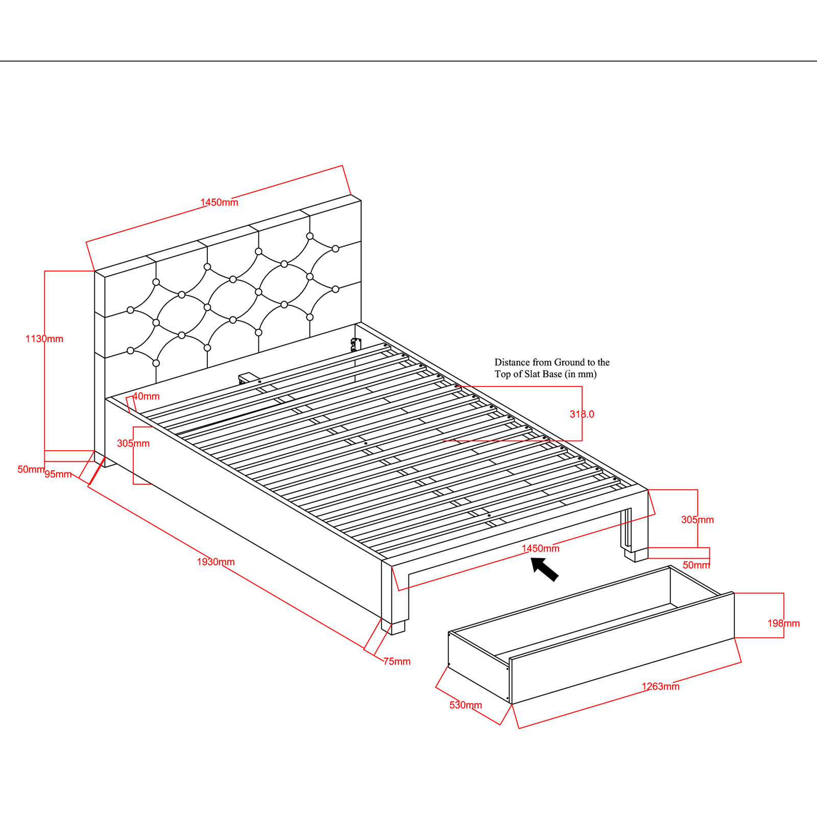 New Kingston Double Bed Frame With Drawer