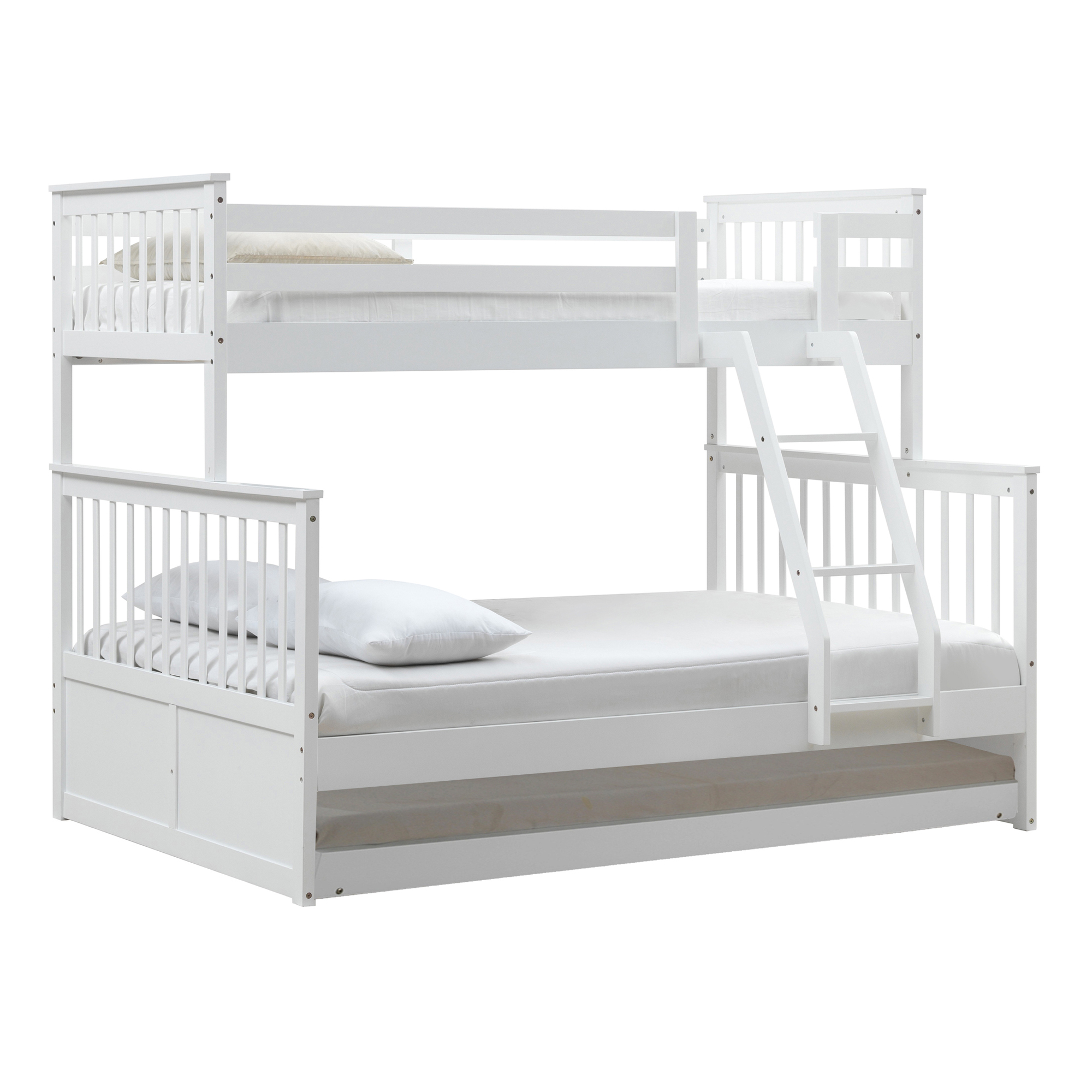 Vic Furniture White Seattle Single Over Double Bunk Bed With Trundle Reviews Temple Webster