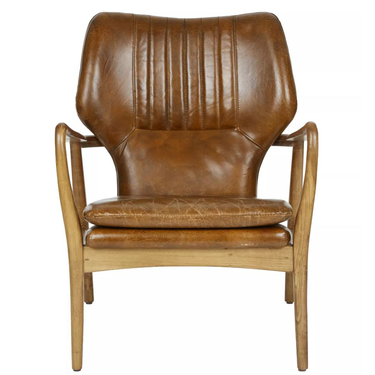 Modern Leather Chairs Theron Modern Oak Leather Chair