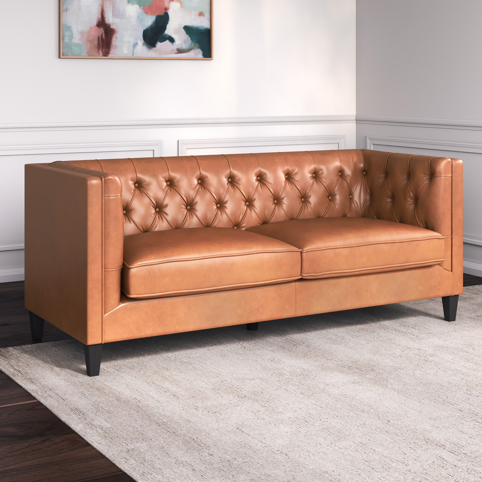 thiago 3 seater premium faux leather sofa