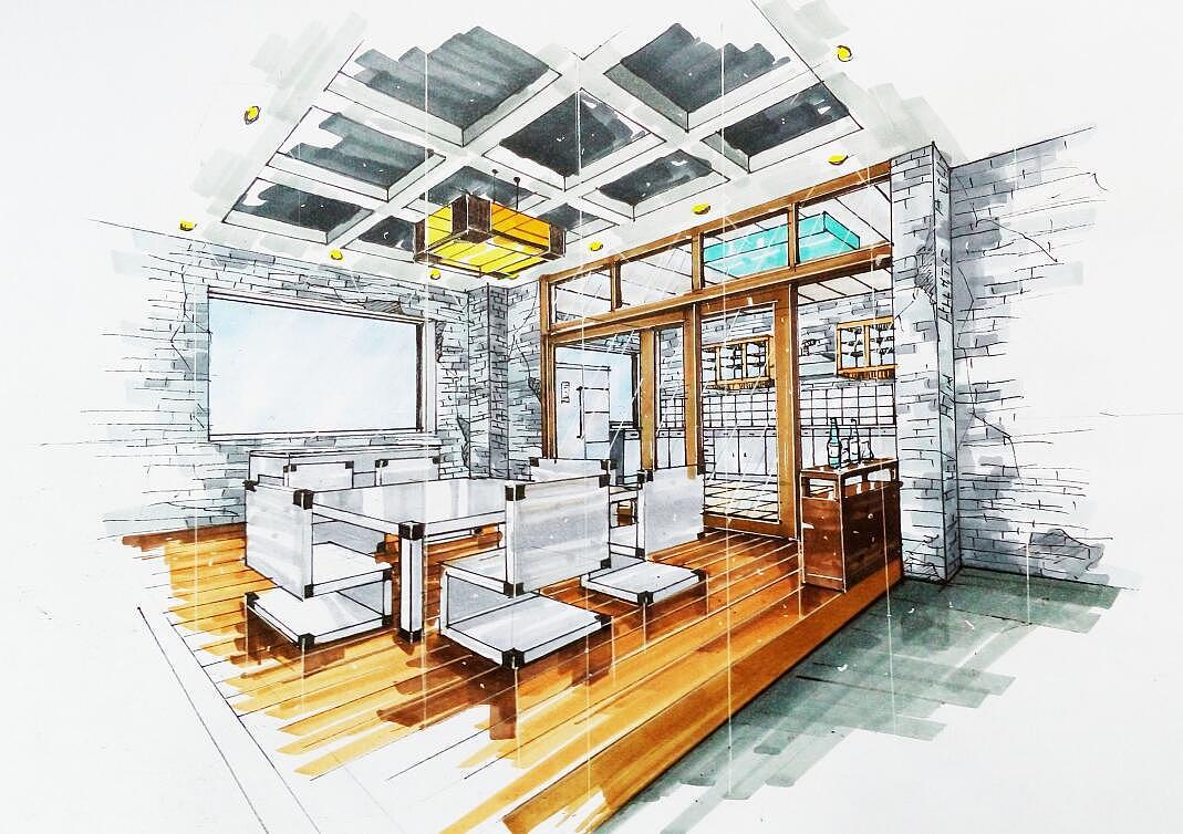 mobile kitchens pub kitchen table 归本主义手绘室内外效果图|其他|其他|uniquef - 原创作品 站酷 (zcool)