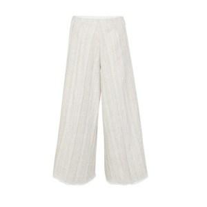 Cotton linen herringbone fringed pants