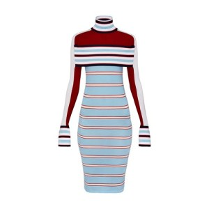 Striped Turtle Neck Knit Dress With Band