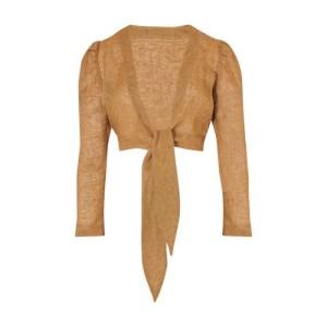 Pouf long-sleeved linen blouse