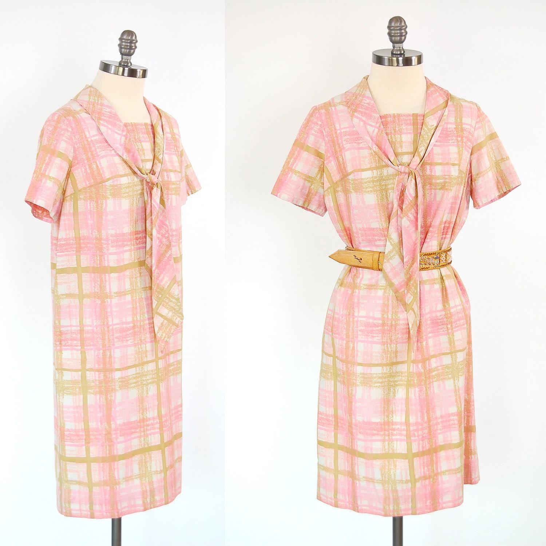 Vintage 60s pink plaid shift dress