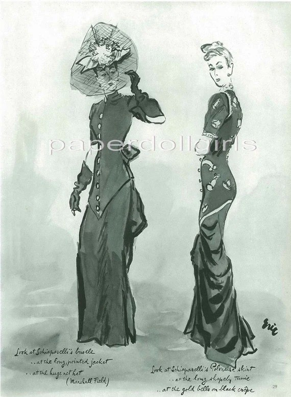 Vogue 1940 Magazine Advertisement Fashion Illustration by ERIC for SCHIAPARELLI Evening Dresses Haute Couture Paris