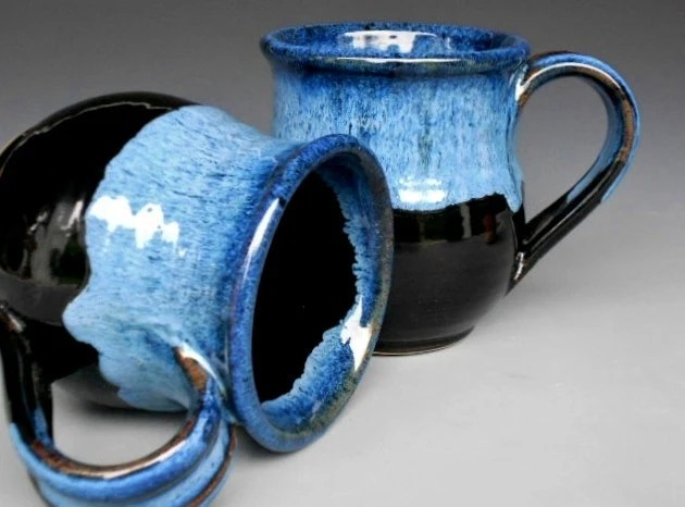 Blue Black Mug  Ceramic Coffee Mug
