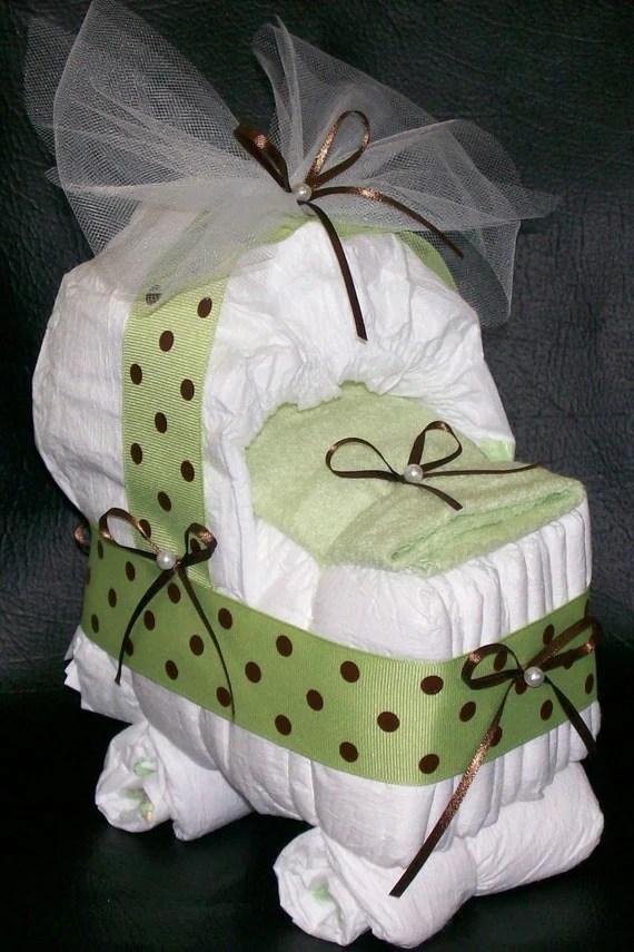 Items similar to Sage Green Brown Polka Dot DIAPER CAKE BASSINET Baby Shower Girl or Boy on Etsy