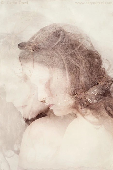 The Nymph Emerging - FREE SHIPPING 8x12 Print Cicada Bug Double Exposure Cream White Pink Brown Girl Face Profile Surreal Portrait Photo Art - caryndrexl