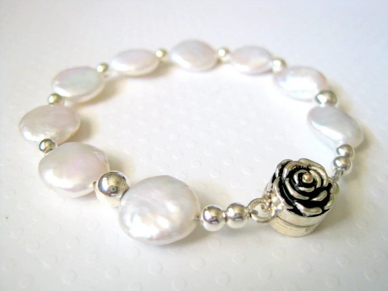 White Coin Pearl Bracelet,  Rose Clasp,  Sterling Silver - JemsbyJBandCompany