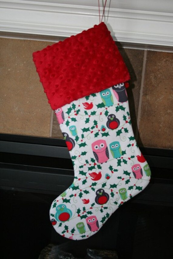 CHRISTMAS Owls Christmas Stocking .. add Embroidery to your stocking